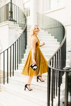 This marigold velvet dress might be one of my favorite looks of ALL TIME. It's just perfection – the color,. Autumn Winter Fashion, Spring Fashion, Winter Style, Cream Wedding Colors, Yellow Midi Dress, Velvet Color, Marigold, Holiday Dresses, All About Fashion