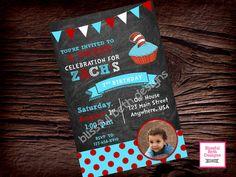 SEUSS BIRTHDAY INVITATION, Dr. Seuss Photo Birthday Invitation, Printable Dr. Seuss Birthday Invitation, Seuss Chalkboard Invitation by BlissfulBethDesigns on Etsy