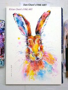 a hare mounted original painting by JianChensFINEART on Etsy