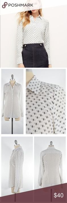 Ann Taylor baby bee silk blouse So cute! Sweet little silk crepe de chine blouse from Ann Taylor. White, with a baby bee print all over. Classic button down for. Size 0, fits a 0/2 best. Ann Taylor Tops Blouses