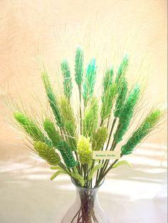 Bouquet en perles de rocaille Epis verts et dorés : Accessoires de maison par botanic-perles