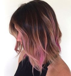 Brunettes, show your adventurous side with a hint of fuchsia at the ends. This expertly blended long bob is a fun way to play with color for those who don't want to go full mermaid.  Image: @prettylittleombre http://www.thefashionspot.com/beauty/632211-ombre-hair-ideas/?slideshow=19857