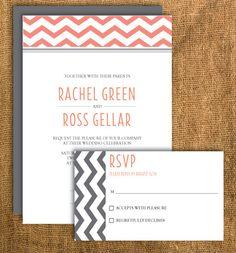 Printable Chevron Wedding Invitation & Reply Card by PrettyMyParty, $25.00