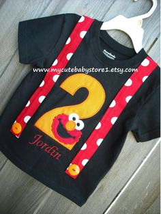 1st And 2nd Elmo Birthday Suspenders T Shirt White Or Black NOTE This Price Does Not Include Personalized