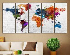 Impresión del arte de la lona de la mapa de por ExtraLargeWallArt