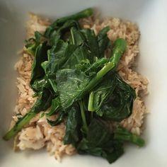 Sesame basil fried rice with garlicky gai lan. #cleaneating #foodie #asianinspired #bonappetit