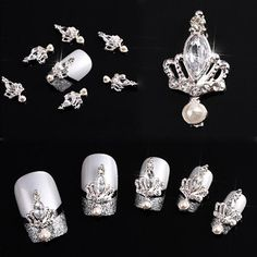 Amazon.com: 10pcs 3D Crown Bow Tie Crystal Rhinestone Alloy Nail Art Glitters DIY Decoration (Silver Crown): Beauty