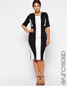Needs a lower neckline, but like the idea... ASOS CURVE Exclusive Shift Dress In Mono Panels