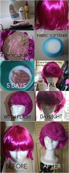 softening the shine of a plastic wig