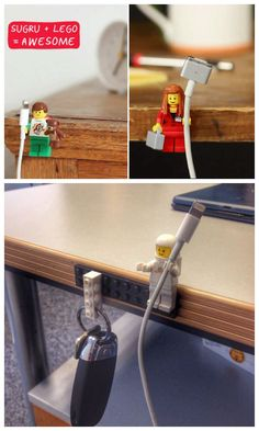 Diy: Lego Key and Cable Holder - Rangements maison - Sugru, Lego Craft, Lego Projects, Home Organization, Legos, Diy And Crafts, Life Hacks, House Design, Design Case