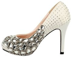 HONEYSTORE WOMEN'S DIAMONDS AND RHINESTONE SATIN PUMPS WHITE 8 B(M) US  - Click image twice for more info - See a larger selection of bridal shoes at   http://zweddingsupply.com/product-category/bridal-shoes/ - woman , wedding , wedding fashion, wedding style, wedding ideas, woman fashion, shoes.