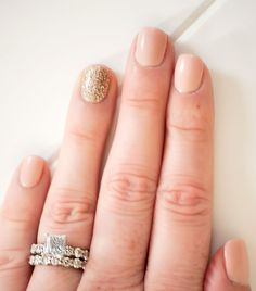 Bling Finger Peaches And Cream Gel Manicure With Golden Dess By Mike