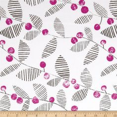 Lotta Jansdotter Follie Skullan Berry Fuchsia from @fabricdotcom  Designed by Lotta Jansdotter for Windham Fabrics, this fabric is perfect for quilting, apparel and home decor accents. Colors include fuchsia, charcoal and white.