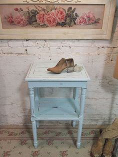 Simple and extremely cute. I think blue's ma thang!  Painted Cottage Chic Shabby Aqua Romantic by paintedcottages, $225.00