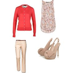 A fashion look from May 2012 featuring knit top, multicolor shirt and cotton stretch pants. Browse and shop related looks. Classic Clothes, Classic Outfits, Coral Cardigan, Warm Colors, Work Wear, What To Wear, My Style, Floral, Closet