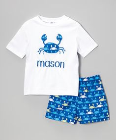 Look what I found on #zulily! White Crab Personalized Tee & Royal Shorts - Toddler & Boys by Orient Expressed #zulilyfinds
