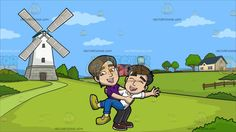 A Happy And Delighted Gay Couple At A Dutch Countryside:  A man with brown black hair wearing a violet polo shirt black pants and brown shoes parts his lips to smile in delight while holding and balancing his happy boyfriend with black hair wearing a white polo shirt blue jeans and yellow green shoes. Set in a european countryside with green grass trees and fences a white and gray tower with a windmill a couple of houses with a tank during a clear day.