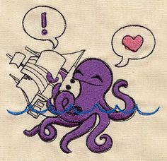 Octopus Hugs Embroidered Flour Sack by EmbroideryEverywhere, $13.99