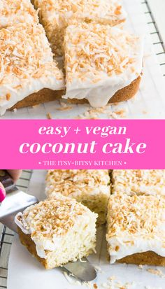 This easy coconut cake uses pantry staple ingredients and it's so easy to make, no mixer necessary! And it's even though this is a vegan coconut cake, the ingredients are very simple and readily available at any grocery store. This cake is made from scratch and it's egg free and dairy free and there's no butter! This is the easiest homemade coconut cake you'll ever make! Vegan Coconut Cake, Chocolate Coconut Macaroons, Honey Chocolate, Coconut Custard, Coconut Whipped Cream, Coconut Recipes, Toasted Coconut, Kinds Of Desserts, Easy Desserts