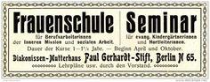 Original-Werbung/ Anzeige 1915 - DIAKONISSEN - MUTTERHAUS / PAUL GERHARD - STIFT - BERLIN - ca. 115 x 45 mm