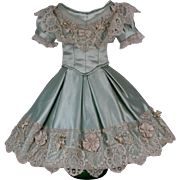 Marvelous Antique Aqua Silk Satin Two Piece Ball Gown for French Fashion Doll