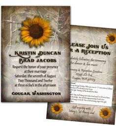Camouflage wedding invitations! Like the Sunflower design.