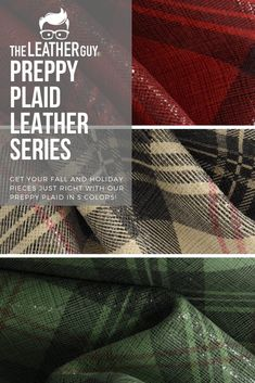 Classic gorgeous plaid for all your fall/winter leather projects! Plaid And Leather, Leather Pieces, Leather Gifts, Leather Craft, Leather Earrings, Leather Jewelry, Diy Leather Projects, Leather Suppliers, Craft Night