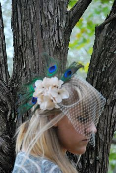 Peacock Feather and Flower Hair Clip with Ivory Bird Cage Veil by megleewebbs $85.00 #etsy #handmade #weddingaccessories #weddings #peacockfeathers