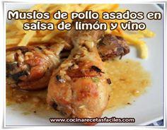 Muslos de pollo asados en salsa de limón