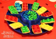 Lego cookies at a Lego party by @Renee's Soirees