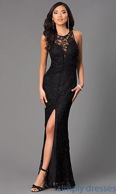 Dresses, Formal, Prom Dresses, Evening Wear: Lace Floor Length Sleeveless Dress