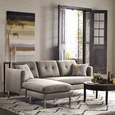 West Elm offers modern furniture and home decor featuring inspiring designs and colors. Create a stylish space with home accessories from West Elm. Couch With Chaise, Chaise Sofa, Living Room Furniture, Modern Furniture, Home Furniture, West Elm, Rearrange Room, Living Room Arrangements, My Home Design
