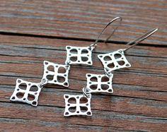 KOLCZYKI wiszące ozdobne kwadraty SREBRO 925 w euforio na DaWanda.com