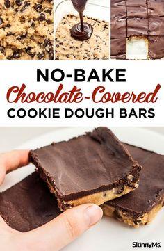 No-Bake Chocolate-Covered Cookie Dough Bars - This recipe makes it safe to indulge in everyone's favorite guilty pleasure! #vegan #chocolate #cookiedough #bars #snacks #energyfood #veganrecipe