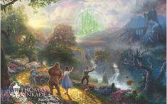 "Thomas Kinkade-""Dorothy Discovers the Emerald City ""- Open edition by Canvas Giclee Prints Fantasy Hd, Fantasy Films, Final Fantasy, Disney Desktop Wallpaper, Wallpaper Hp, Laptop Wallpaper, Art Disney, Disney Kunst, Disney Collage"