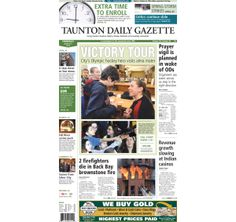 The front page of the Taunton Daily Gazette for Thursday, March 27, 2014.
