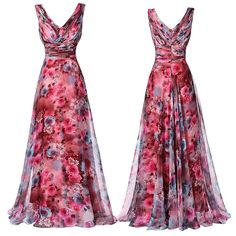 Vintage Floral Women Boho Long Evening Bridesmaid Dress Formal Party Prom Gown