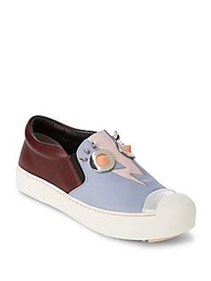 Fendi - Slip-On Leather Sneakers Slip On Sneakers, Leather Sneakers, Shoes  Sneakers c53c161008e