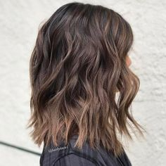 Brown Choppy Lob With Soft Ombre