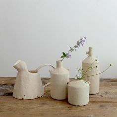 Stunning new work from Nobue Ibaraki. A selection of bottles and pitchers in a soft cream glaze.