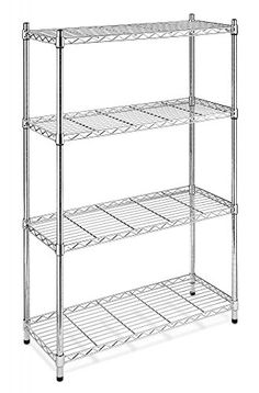 Chrome Storage Rack 4Tier Organizer Kitchen Shelving Steel Wire Shelves >>> More info could be found at the image url.