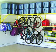 bike's hung from shelf