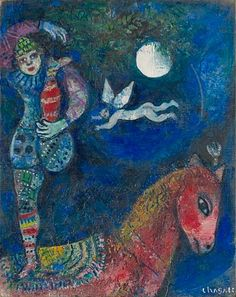 Chagall, me vuelve loca. 'The Circus Rider' - Marc Chagall… Marc Chagall, Artist Chagall, Chagall Paintings, Oil Paintings, Pablo Picasso, Circus Art, Art Institute Of Chicago, French Artists, Love Art
