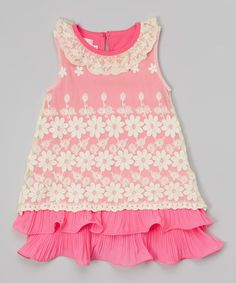 Love this Hot Pink & White Lace Ruffle Dress - Toddler & Girls by Blossom Couture on #zulily! #zulilyfinds
