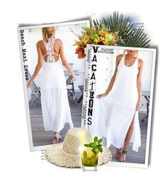 """Yoins Sleeveless Crochet Lace Side Split Beach Maxi Dress"" by tasha1973 ❤ liked on Polyvore featuring Creative Displays and Eugenia Kim"