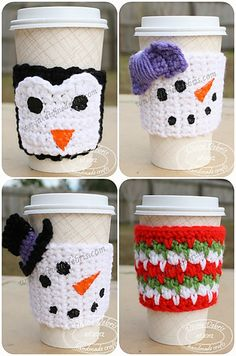 This link is for four different types of mug cozies, the Willow, two Snow-People and a Penguin. These are easy to customize, quick to work up and you can make them year round. Funner than just single colored mug cozies, these make great gifts when you don't know what to make or what to give. Crochet Coffee Cozy, Crochet Cozy, Crochet Gifts, Free Crochet, Christmas Crochet Patterns, Holiday Crochet, Easy Crochet Patterns, Crochet Winter, Cafe Bar