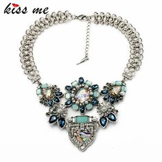 Exaggerated Simulated Gemstone Flower Chunky Popcorn Chain Statement Necklace Fashion Bijoux Jewelry for Women