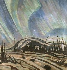 'Northern Lights, Alaska Highway' by A. Canadian Painters, Canadian Artists, Emily Carr Paintings, Franklin Carmichael, Group Of Seven Paintings, Tom Thomson Paintings, Landscape Paintings, Landscapes, Alaska Highway