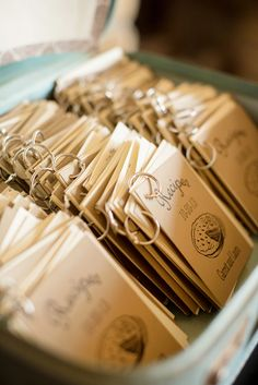 Check out these mini recipe book wedding favors