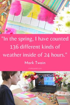 """""""In the spring, I have counted 136 different kinds of weather inside of 24 hours."""" - Mark Twain Paint all kinds of spring beauty with Nana with her spring art celebration! #youareanartist #MarkTwain #arttutorial Long Neck Dinosaur, Reflection Art, Spring Quotes, Spring Tree, Unique Paintings, Chalk Pastels, World Of Color, Art Tutorials, Art Lessons"""
